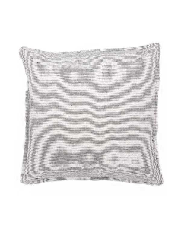 Linge Particulier - Housse de coussin en lin lavé rayé Noir & Blanc