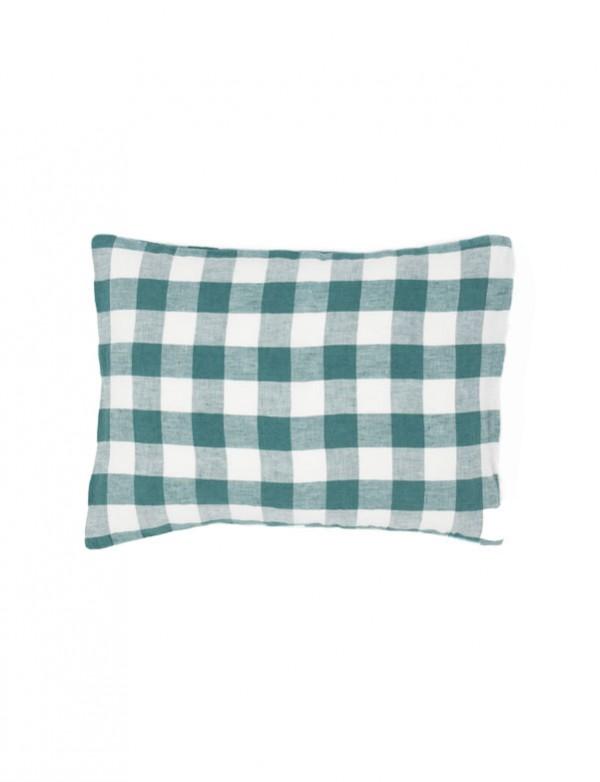 Linge Particulier - Housse de coussin en lin lavé vichy moyen vert vintage