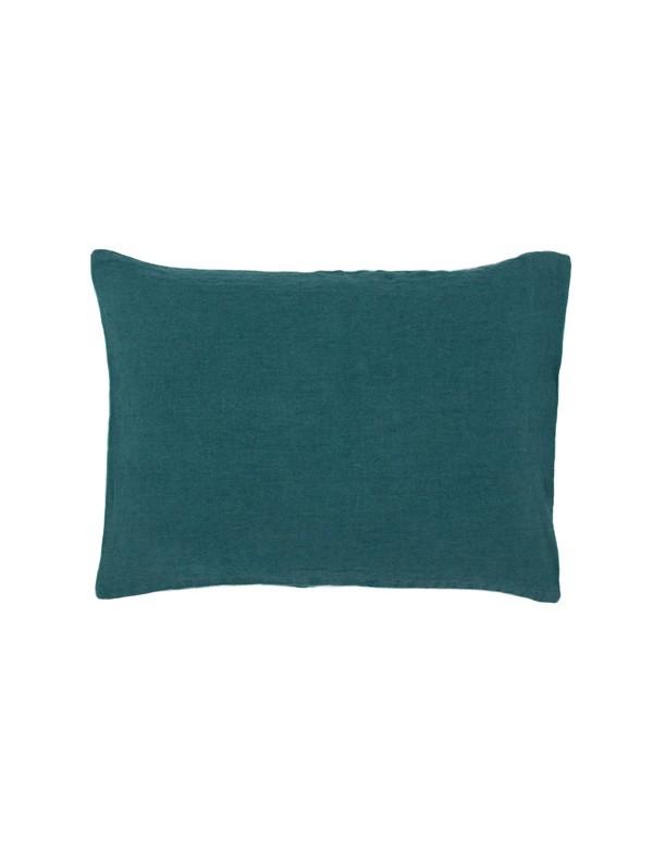 Linge Particulier - Housse de coussin en lin lavé vert vintage