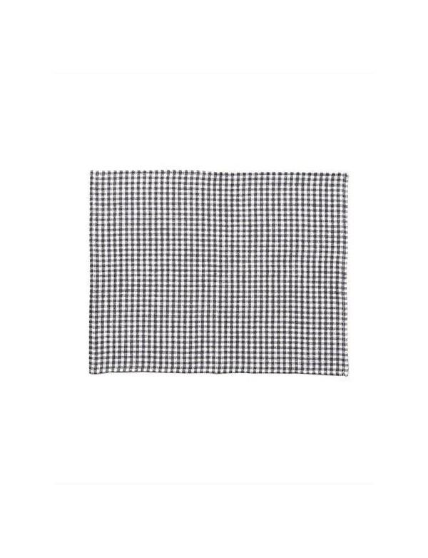Fog Linen - Set de table en lin à carreaux vichy anthracite