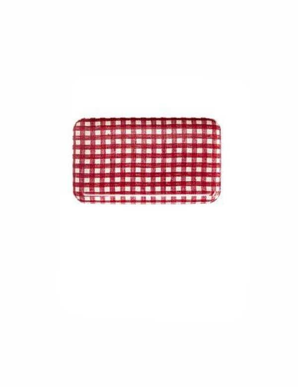 Fog Linen - Plateau rectangulaire en lin à carreaux vichy rouge