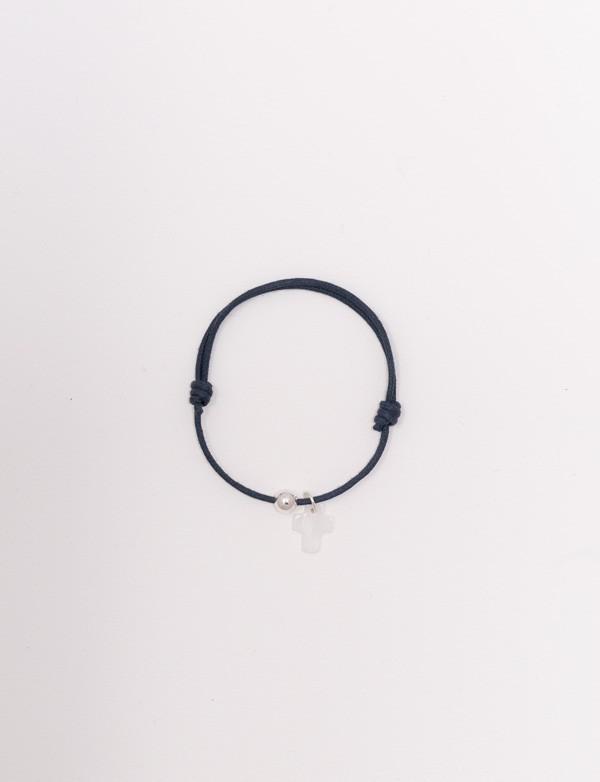 Bracelet cordon bleu nuit avec une croix en nacre blanche