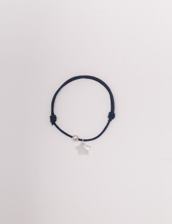Bracelet cordon bleu nuit avec une étoile en nacre blanche