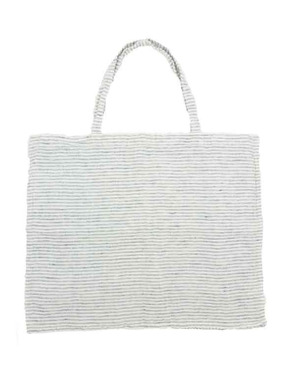 Linge Particulier - Sac en lin lavé rayé noir & blanc