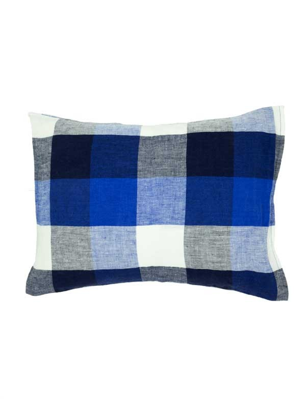 Linge Particulier - Housse de coussin en lin lavé carrelage bleu