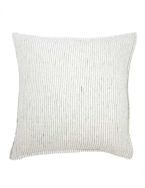 Linge Particulier - Housse de coussin en lin lavé Rayure Pyjama noir et blanc