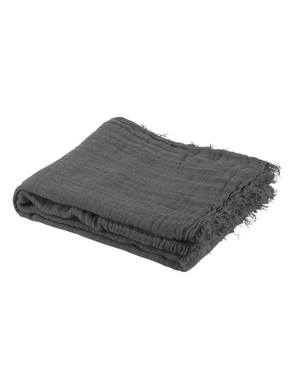 Linge Particulier - plaid d'été en gaze double de lin lavé frangé gris gris