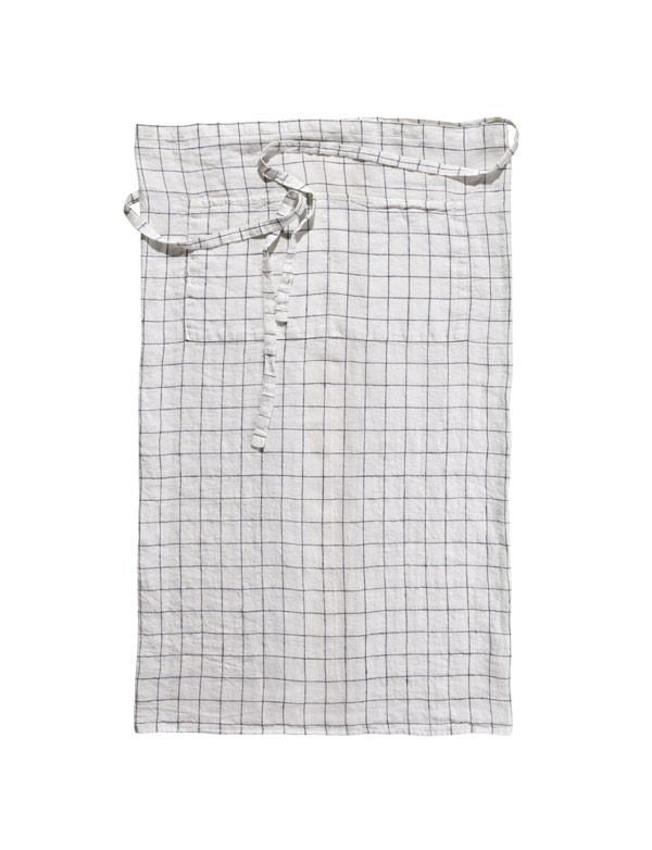 Linge Particulier - Tablier de bistrot en lin lavé à carreaux XL Marine et Blanc
