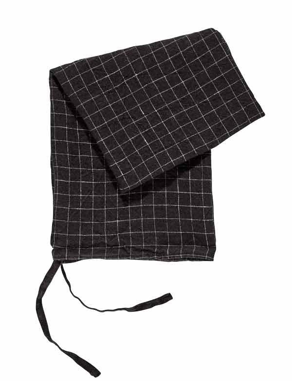 Linge Particulier - Torchon / Essuie-main carreaux noirs