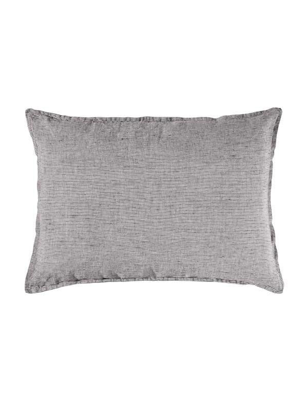 Linge Particulier - Housse de coussin en lin lavé rayé Noir et Blanc